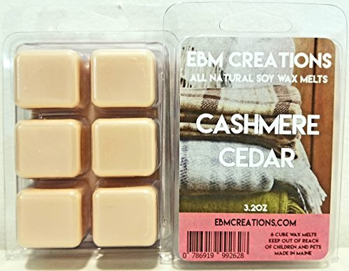 Cashmere Cedar - Scented All Natural Soy Wax Melts - 6 Cube Clamshell 3.2oz Highly Scented! ()