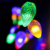 Cone Battery Operated LED Christmas Lights - 2 Work Modes RGBY Christmas String