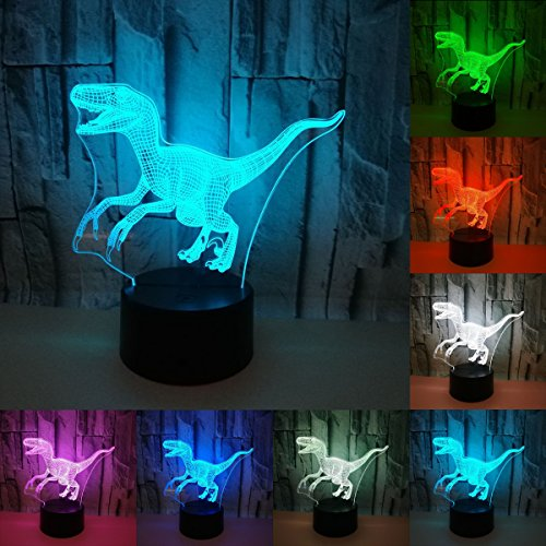 3D Visual Creative LED Lamp 3W For Kids Night Lights Dinosaur 7 Colors...