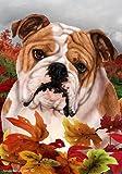Bulldog – Tamara Burnett Fall Leaves Large Flags..