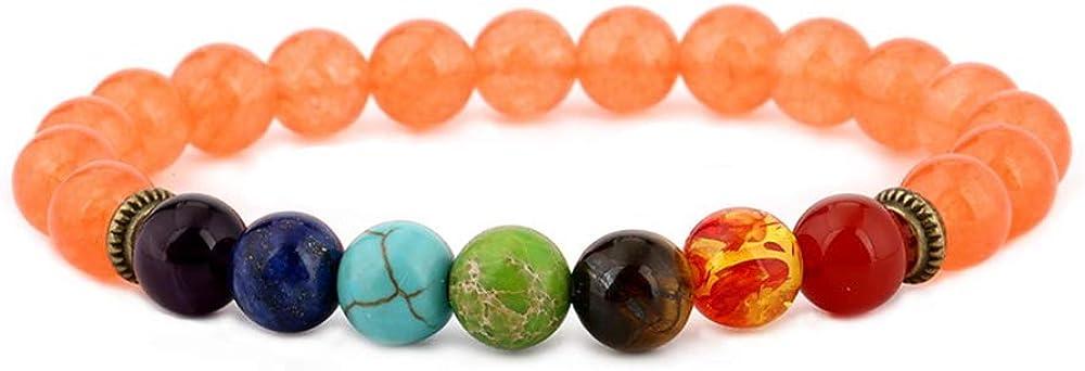 AKIMO Pulsera de Chakra con Caja de Regalo - Pulsera de curación de ansiedad de Piedras Preciosas Naturales, 7 Cuentas de Piedra Equilibrio de Yoga Reiki Lucky Charm Bracelet para Mujeres