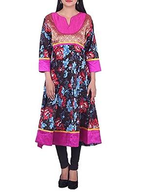 Bleuindus Ethnic Floral Pattern Patchwork Tunic Kurta