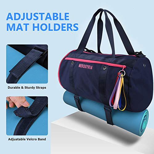 Sport Duffel Bag, Merssyria 45L Sports Gym Bag with Wet Pocket Shoes Compartment Yoga Mat Holder for Outdoor Gym, Swim, Travel