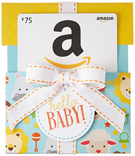 Amazon.ca $75 Gift Card in a Hello Baby Reveal (Classic White Card Design)
