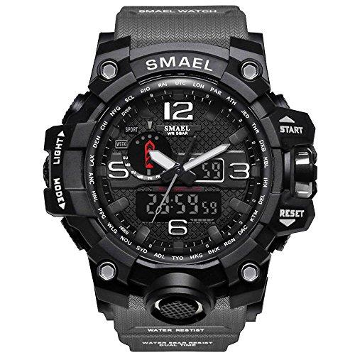 SMAEL Men's Sports Analog Digital Quartz Military Watch Waterproof Multifunctional Large Dial Wrist Watch for Men (Gray)