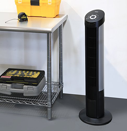Seville Classics UltraSlimline 40 in. Oscillating Tower Fan with Steel Intake Grill, Black