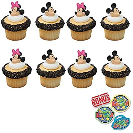 Amazon Minnie And Mickey Mouse Cupcake Toppers Bonus Birthday Ring