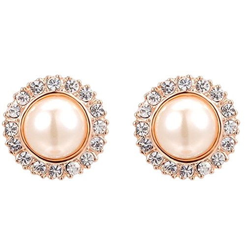 FJYOURIA Women's 18k Rose Gold/Platinum Plated Austrian Crystal Round Shape Stud Earring with Freshwater Pearl (rose-gold-plated-base) - Pearl 18k Gold Earrings