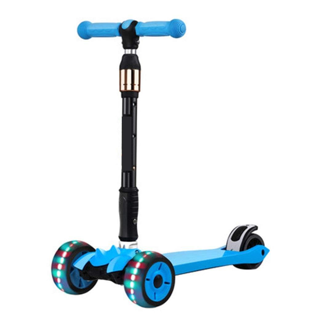 ahorrar en el despacho azul SAN_Q SAN_Q SAN_Q Scooter de tres ruedas para niños El scooter liviano inclina y gira el scooter de dos ruedas. Scooter de tres ruedas ajustable Aplicable 3-6-12 años de edad Parpadeaba el patín de 3 ruedas de yo  la mejor oferta de tienda online