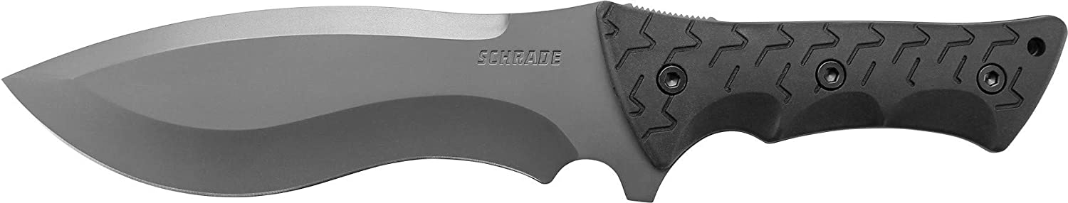 Schrade SCHF28 Little Ricky 14.1in S.S. Full Tang Knife with 7.9in Drop Point Recurve Blade and TPE Handle for Outdoor Survival, Camping and Bushcraft