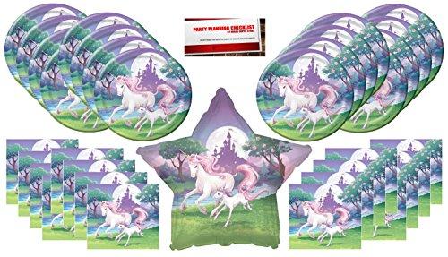 Unicorn Fantasy Birthday Party Supplies Bundle Pack for 16 Plus 17 Unicorn Star Balloon (Fantasy Party Supplies)