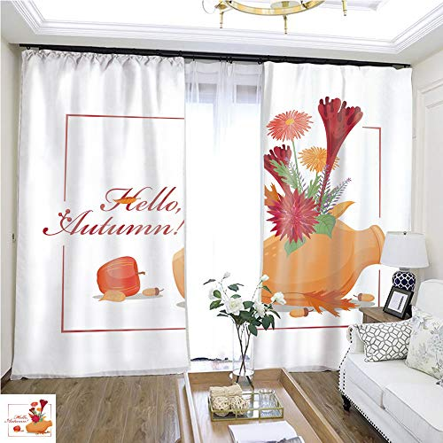 Cartoon Curtain Series Color Drawing Set with Autumn Flowers and Plants in Ceramic Amphora Apple Woolflower Chrysanthemum Dahlia Oak Leaves and Acorns Vector Isolated on Background W72 x L73 Reduce