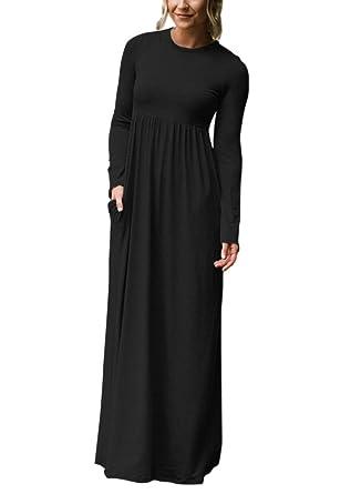 0907b663500 ROSKIKI Women s Long Sleeve High Waist Floor Length Casual Pockets Jersey  Maxi Dress US (4