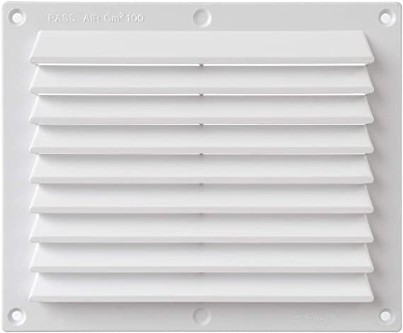 rectangulaire /à superposer Dimensions La Ventilazione B1714B Grille de ventilation en plastique blanc 175 x 146 mm.