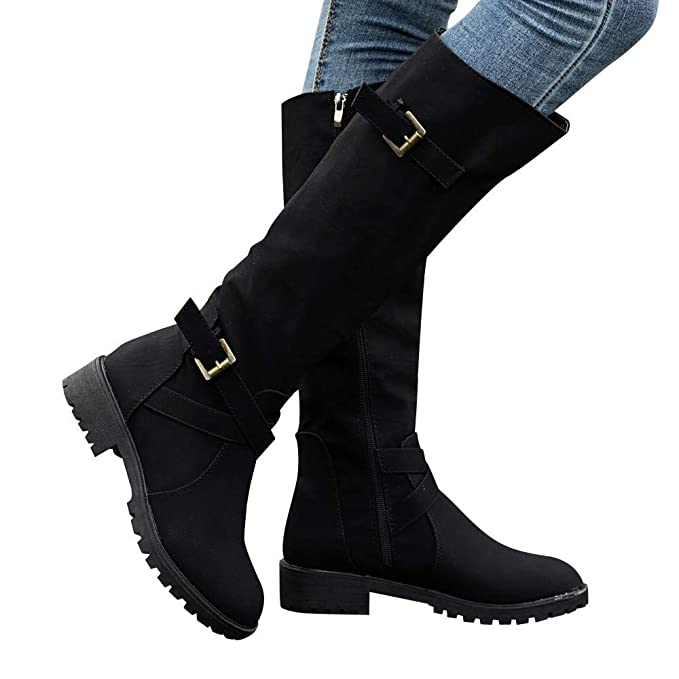 23851ac123933 Gyoume Over Knee Boots Women Calf Biker Boots Shoes Buckle Boots Flat Wedge  Boots Shoes Zip Punk Military Combat Boots