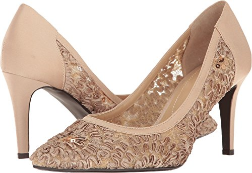 Gold Satin Pump (J. Renee Women's Camellia Pointy Toe Pump,Champagne Lace/Satin,US 6.5 M)