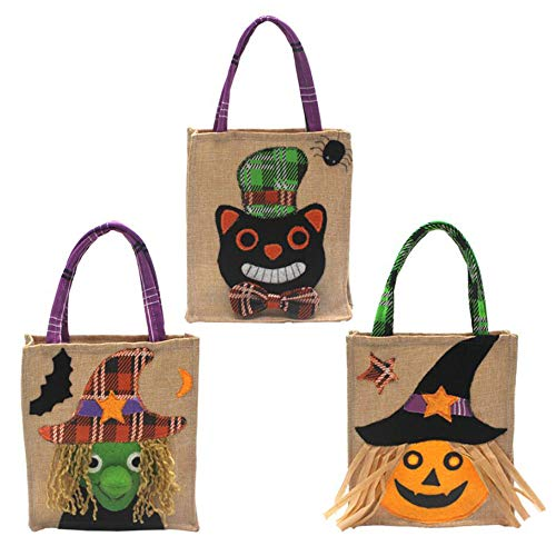 Atiming 3 Pack Linen Halloween Candy Tote Bags Reusable Halloween 3 different Styles Trick or Treat Tote Bags Ggoodie Bags for Kids Halloween Party & Holiday Snacks Gift Bags