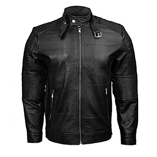 Mens Slim Classic Black Leather Jacket with Collar Belt