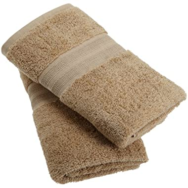 1888 Mills 100-Percent Organic Cotton Oversized Hand Towel Set of 2, Earth Brown