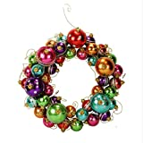 16'' Multi-Color Striped and Polka Dotted Christmas Ball Ornament Wreath - Unlit