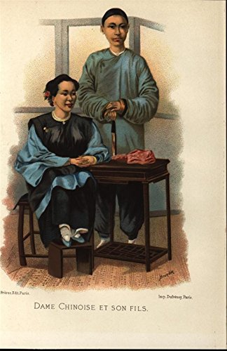 Ethnic Chinese Costume (Chinese Lady & her Son Traditional Costume 1883 antique color ethnic print)