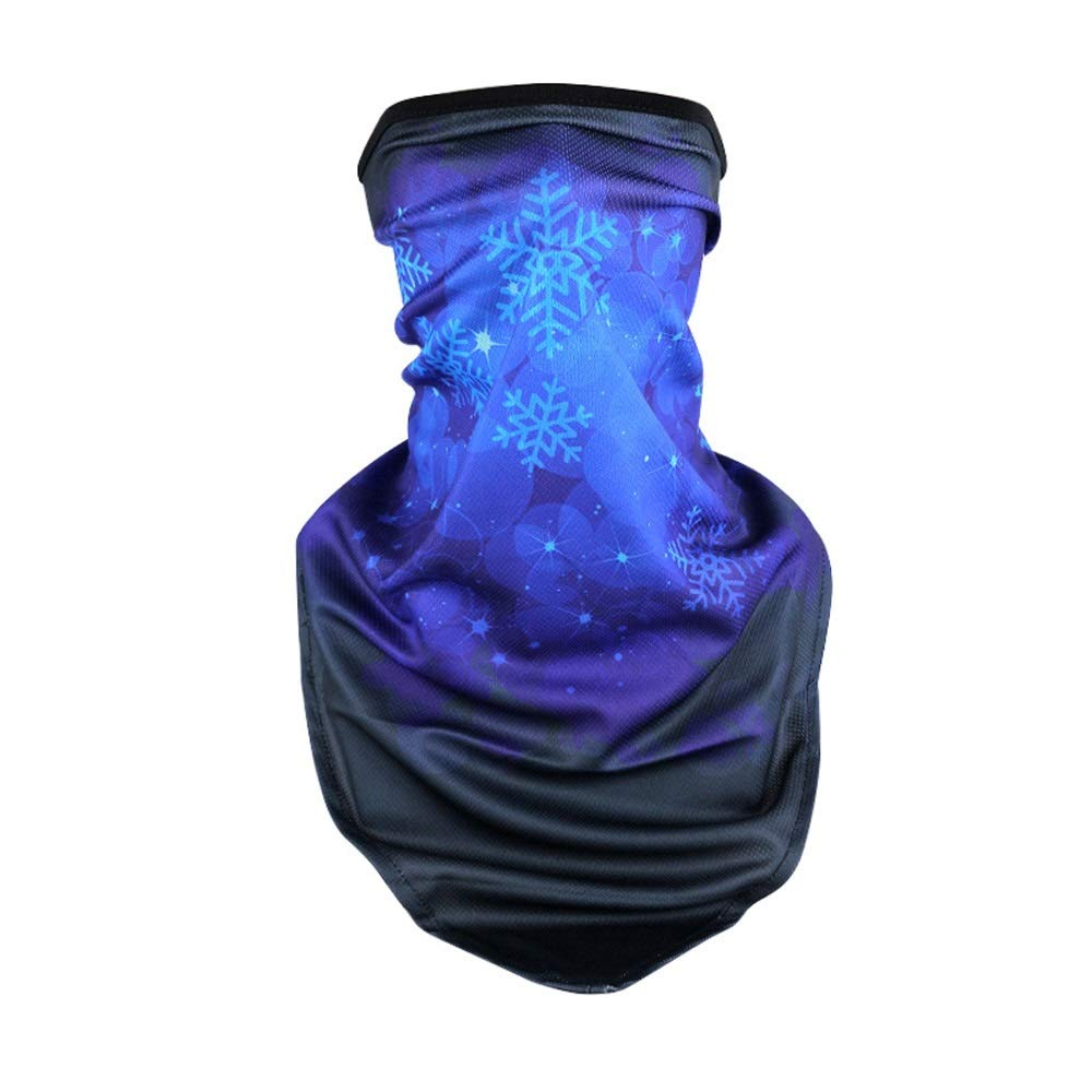 LHV Sports mask Sun Protection Visor Outdoor Riding Men and Women Ice Silk Full Face Fishing Anti-UV Windproof Sunscreen Sunscreen Mask Gini Outdoor Travel (Pattern : Snowflakes)