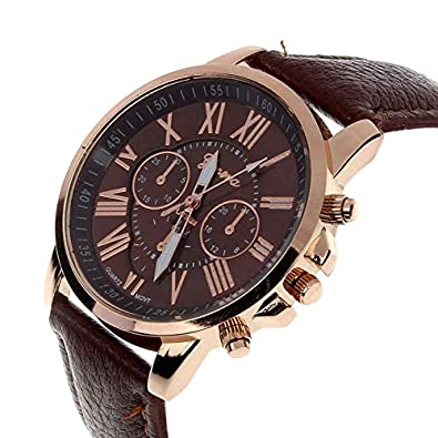 Amazon.com: Casual Watch Women Dress Watches Roman PU Leather Quartz Wristwatch Women Men Relogio Masculino Erkek KOL Brown: Jewelry