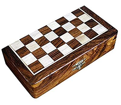 "Chess Game 8"" Lacquer Coated Wooden Magnetic Handcrafted Folding Chess Box with foam fitting for chessmen."