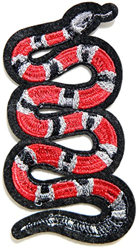 Red Snake Jacket T-shirt Patch Sew Iron on Embroidered Applique T-shirt Jeans Decoration DIY Costume (Harley Davidson Biker Girl Halloween Costume)