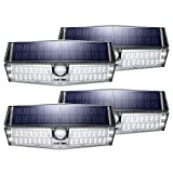 LITOM Upgraded 66 LED Solar Lights Outdoor, IP66 Waterproof Wireless Solar Motion Sensor Lights(White Light), 270°Wide Angle, Easy-to-Install Security Lights for Front Door, Yard, Garage, Deck-4 Pack
