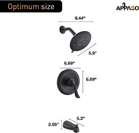 APPASO Shower Faucet and Tub set Matte