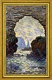 "The Rock Needle Seen through the Porte dAumont by Claude Monet - 15"" x 26"" Framed Premium Canvas Print"