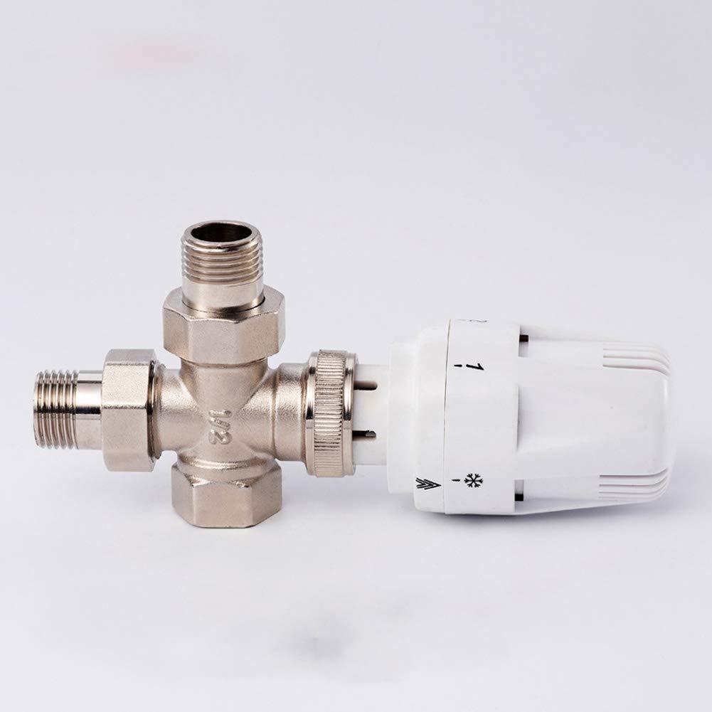Yzki V/álvula termost/ática Blanco /ángulo Recto 15 mm Tama/ño Libre Juego de v/álvulas termost/áticas para radiador de ba/ño Cocina