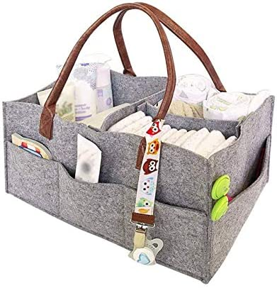 Newborn Kids Grey Portable Car Organizer Basket Nappy Bags for Mom Baby Diaper Caddy Infant Nursery Tote Storage Bin Felt Basket Diapers Organizer Baby Wipes Bag with Changeable Compartments