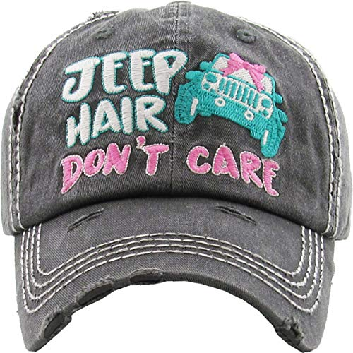 - H-212-JHDC-2019-06 Distressed Hat - JeepHair Don't Care w/Car, Black
