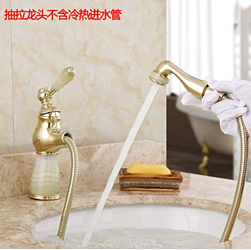 Sapphire Pull Lifting Copper Basin Faucet Bathroom Cabinet Faucet Telescopic Hot and Cold Water Faucet Round Pull High