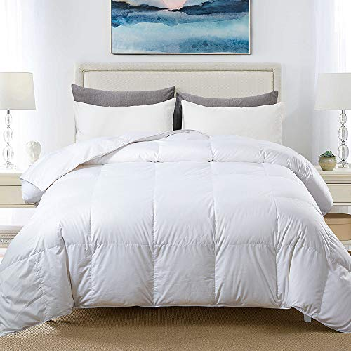 COSYBAY 100% Cotton Quilted Down Comforter White Goose Duck Down and Feather Filling - Hypoallergenic - All Season Duvet Insert or Stand-Alone - Queen (Gsm 90 What Microfiber Is)