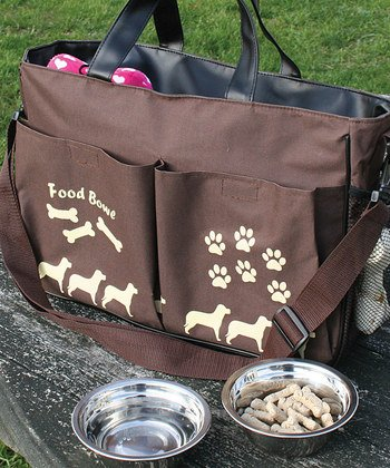 Pet Travel Tote with 2 Stainless Steel Bowls
