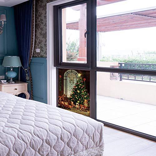 YOLIYANA Colorful Window Film,Christmas,for Toilet Bathroom Balcony,Magical Vintage Ambiance Big Old Fashioned Window Xmas,17''x24'' ()