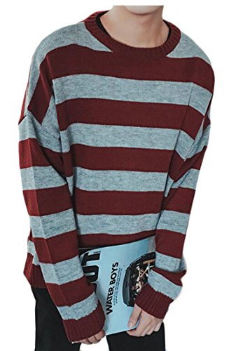 discount Be Loved Beloved Men's Long Sleeve Plus Size Striped Print Knit Sweater for cheap