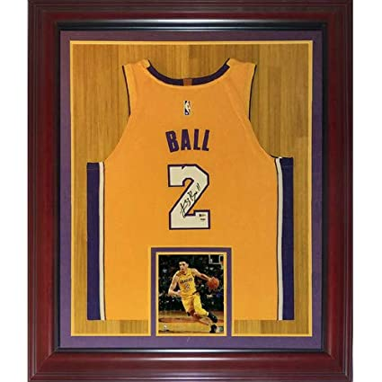 1964d4ea1d2 Image Unavailable. Image not available for. Color: Lonzo Ball Autographed  Signed Auto Los Angeles Lakers Yellow #2 Deluxe Framed Jersey PSA -