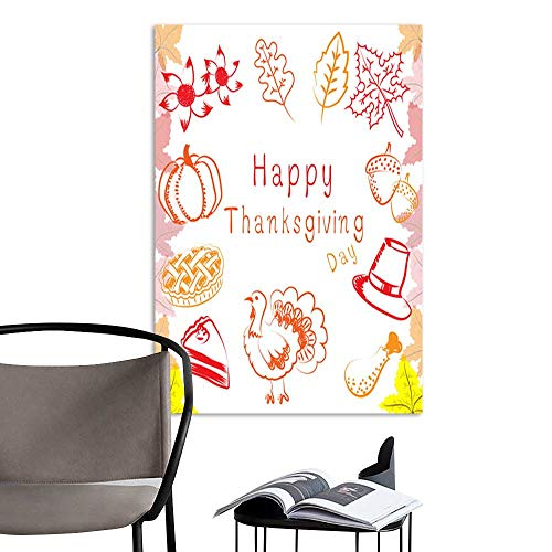 (Modern Canvas PaintingVector and illustration thanksgiving ideas elements pumpkin sun flower pumpkin pie cake turkey drumstick acorn hat and maple in red and orange color with maple pattern white)