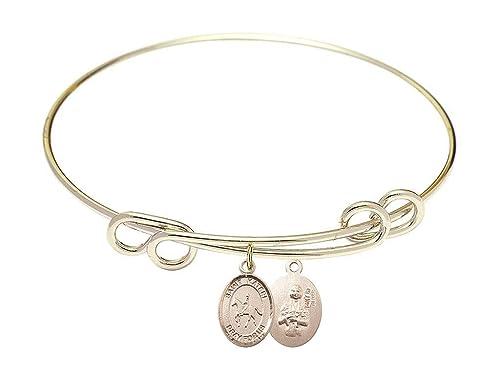 St Kateri Tekakwitha Charm On A 8 1//2 Inch Round Double Loop Bangle Bracelet