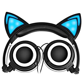 LOBKIN Foldable Wired Over Ear Kids Headphone with Glowing Light for Girls Children Cosplay Fans,Cat Ear Headphones (Black)
