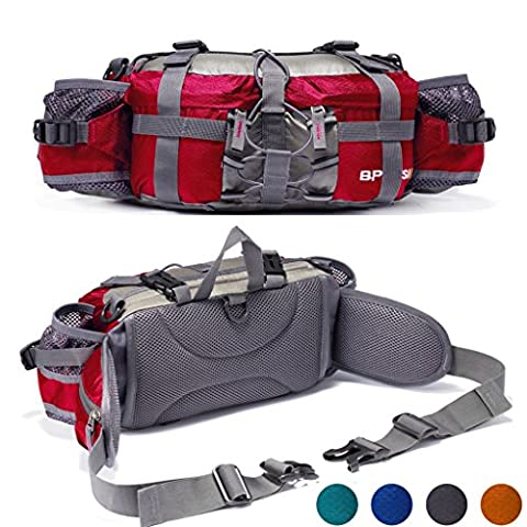 YUOTO Outdoor Fanny Pack Hiking Camping Hunting Ski Fishing Gear Waist Pack 2 Water Bottle Holder Lumbar - Outdoor Gear