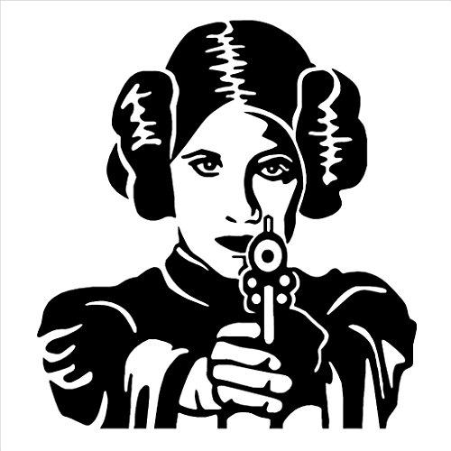 Princess Leia Vinyl Decal Sticker | Cars Trucks Vans Walls Laptops Cups | Black |6 X 5.5 inches | KCD979