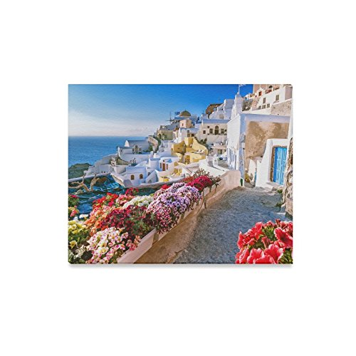 InterestPrint Beautiful Sunset City View of Santorini Greece Wooden Frame Modern Canvas Prints Painting Wall Art for Home Decoration Wall Decor, 20 x 16 Inches