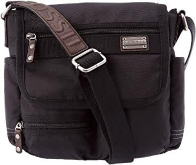 Fossil Kingston–City Bag, bolso bandolera hombre–negro, textil, Negro (negro), Taille unique