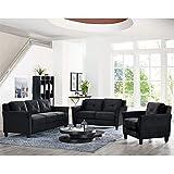 black living room furniture sets. Lifestyle Solutions Hartford 3 Piece Microfiber Sofa Set in Black Amazon com  Living Room Sets Furniture Home