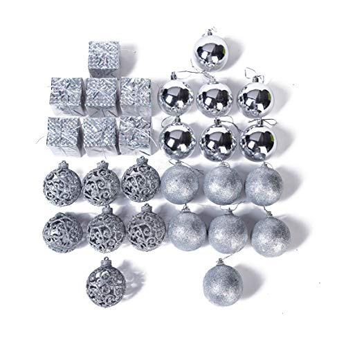 Xena 28 Piece Elegant Modern Silver Christmas Tree Ball Ornament Drum Snow Winter Theme Assortment Set, 2 x 2 Inches DIY Holiday Xmas Decorations Present Party Favors Supplies Accessories